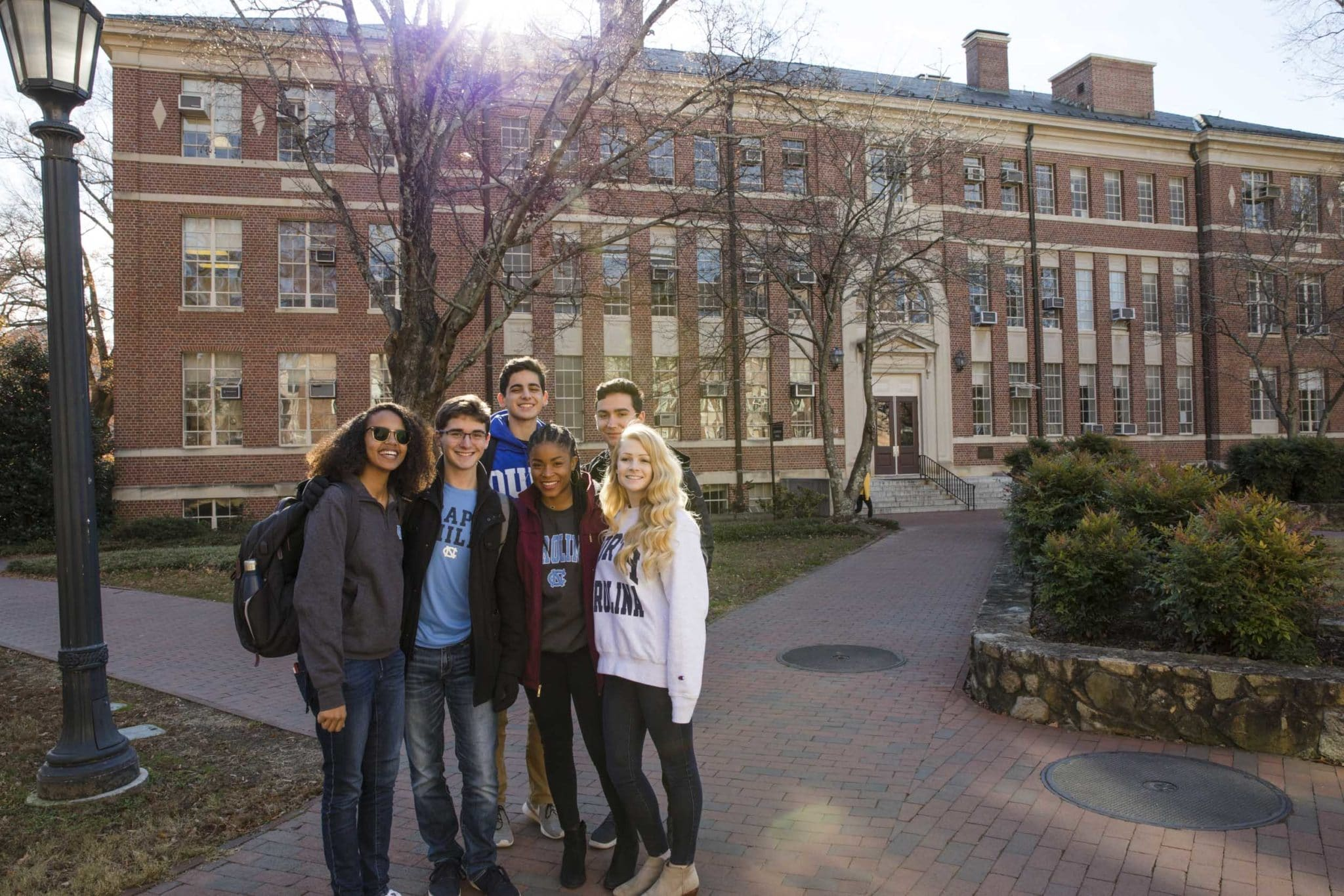 Students in front of campus building