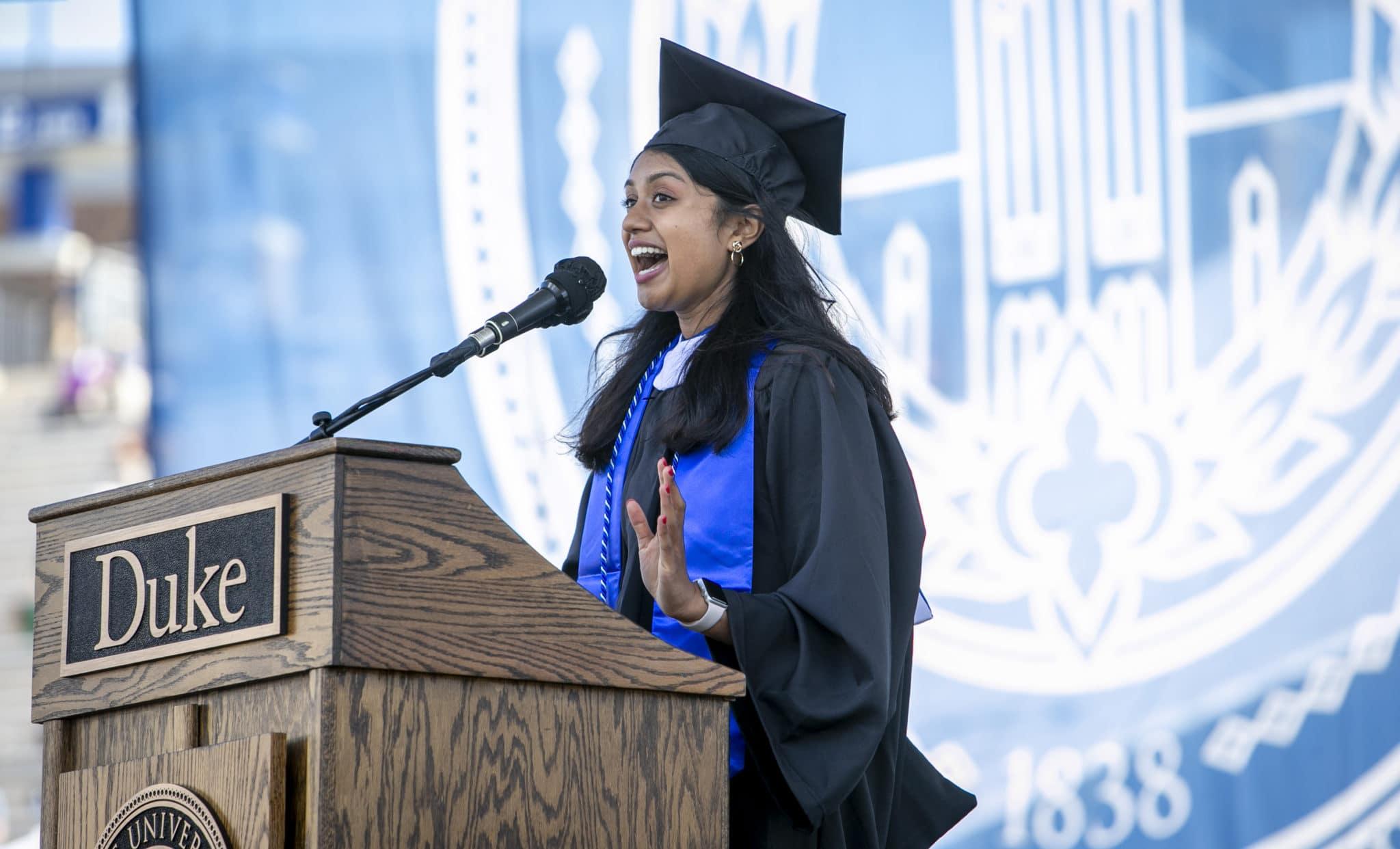 Meghana Sai Iragavarapu delivers the student address during Duke University's Commencement Ceremony on Sunday, May 2, 2021. John Legend, multiplatinum-selling singer-songwriter, actor, producer and philanthropist, delivered the keynote address.