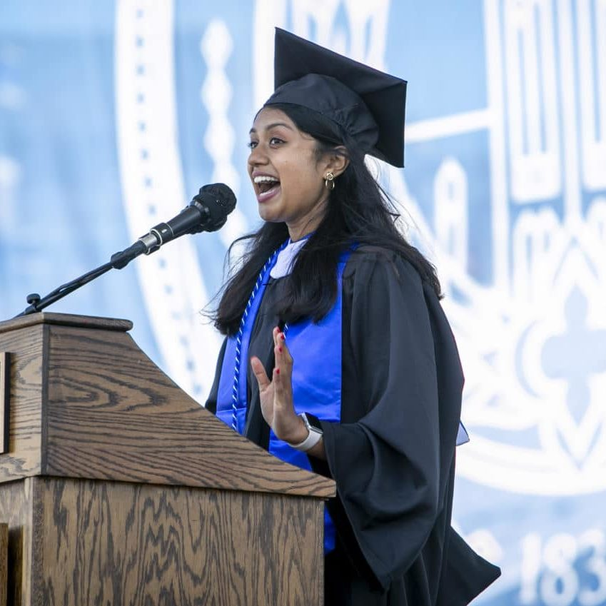Meghana Sai Iragavarapu delivers the student address during Duke University's Commencement Ceremony on Sunday, May 2, 2021. John Legend, multiplatinum-selling singer-songwriter, actor, producer and philanthropist, delivered the keynote address.